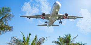 Airliner landing in tropical destination